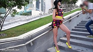 Jeny Smith Yellow High-heeled slippers public flashing