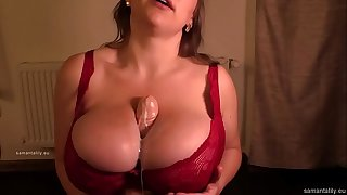 Chesty Samanta Lily Bbw Tittyfucks Dildo with her Thick Tits in Red Brassiere