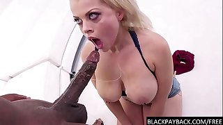 Busty submissive girl throats Big black cock