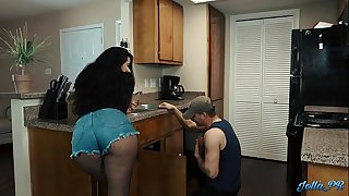 "Lonely Latina housewife fucks the ""plumber"" while hubby is at work"