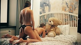 2 Lesbians college roomies have sex in front of teddy bear with a strapon fake penis and receives jizz flow in mouth. This is free preview trailler from Plushies TV starring Eve S and Rebeka Ruby and plush plaything teddy bear Brownie with big black cock