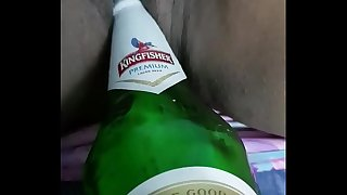 Fisting my desi wifey pussy with beer bottle