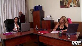 Festivity at office makes boss bang busty babes Patty Michova & Kyra Hot