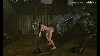 3D Hardcore Animation Alien Xenomorph Fucking
