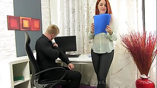 Secretary deep throats the boss hard-on for some cum
